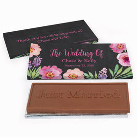Deluxe Personalized Wedding Floral Chocolate Bar in Gift Box