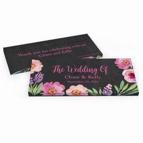 Deluxe Personalized Wedding Floral Hershey's Chocolate Bar in Gift Box