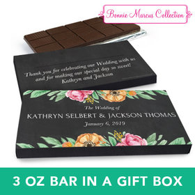 Deluxe Personalized Flowers Wedding Chocolate Bar in Gift Box (3oz Bar)