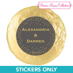 "Personalized Bonnie Marcus Wedding Divine Gold 1.25"" Stickers (48 Stickers)"