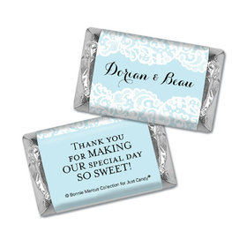 Personalized Bonnie Marcus Wedding Lace Trim on Light Blue Hershey's Miniatures