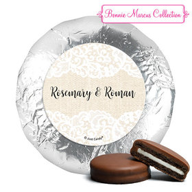 Personalized Bonnie Marcus Wedding Lace Trim on Burlap Milk Chocolate Covered Oreos
