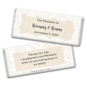 Personalized Bonnie Marcus Wedding Lace Trim on Burlap Chocolate Bar Wrappers Only