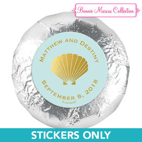 "Personalized Bonnie Marcus Wedding Siren's Shell 1.25"" Stickers (48 Stickers)"