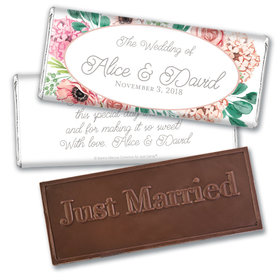 Personalized Bonnie Marcus Bridal Shower Blossom Bliss Embossed Chocolate Bar & Wrapper
