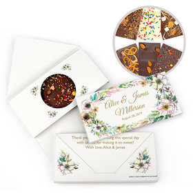 Personalized Bonnie Marcus Wedding Painted Flowers Gourmet Infused Belgian Chocolate Bars (3.5oz)