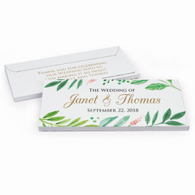 Deluxe Personalized Wedding Watercolor Plants Hershey's Chocolate Bar in Gift Box