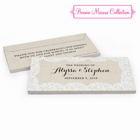 Deluxe Personalized Wedding Lace & Linen Hershey's Chocolate Bar in Gift Box
