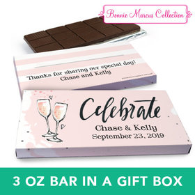 Deluxe Personalized Bubbly Wedding Chocolate Bar in Gift Box (3oz Bar)