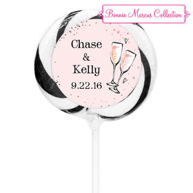 """Bonnie Marcus Collection Personalized 3"""" Black Whirly Pop The Bubbly Custom Wedding Favor (24 Pack)"""
