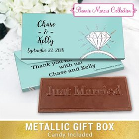 Deluxe Personalized Wedding Last Fling Chocolate Bar in Metallic Gift Box