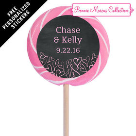 "Bonnie Marcus Collection Personalized 3"" Light Pink Swirly Pop Sweetheart Swirl Wedding Favor (12 Pack)"