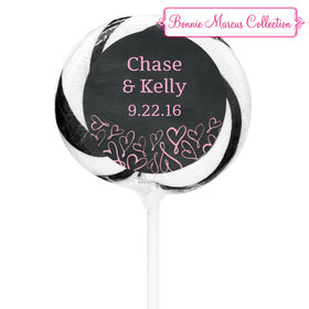 """Bonnie Marcus Collection Personalized 3"""" Black Whirly Pop Sweetheart Swirl Wedding Favor (24 Pack)"""