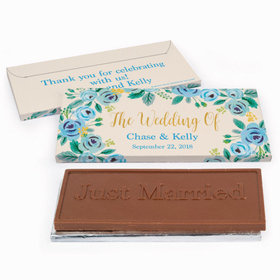 Deluxe Personalized Wedding Blue Flowers Chocolate Bar in Gift Box