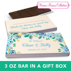 Deluxe Personalized Blue Flowers Wedding Chocolate Bar in Gift Box (3oz Bar)