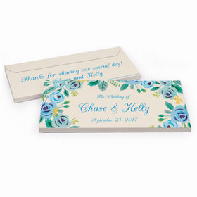 Deluxe Personalized Wedding Blue Flowers Hershey's Chocolate Bar in Gift Box