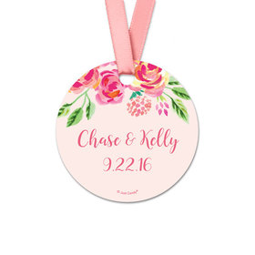 Personalized Bonnie Marcus Collection Round Pink Flowers Wedding Favor Gift Tags (20 Pack)