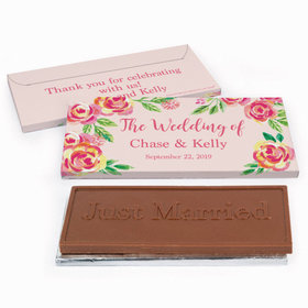 Deluxe Personalized Wedding Pink Flowers Chocolate Bar in Gift Box