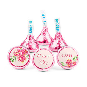 Personalized Wedding Reception Pink Flowers Hershey's Kisses (50 pack)