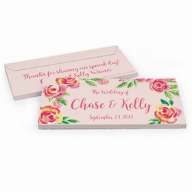 Deluxe Personalized Wedding Pink Flowers Hershey's Chocolate Bar in Gift Box