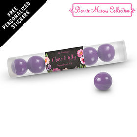Bonnie Marcus Collection Personalized Gumball Tube Floral Embrace Custom Wedding Favor (12 Pack)