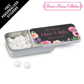 Bonnie Marcus Collection Personalized White Mint Tin Floral Embrace Custom Wedding Favor (12 Pack)