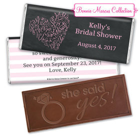 Bonnie Marcus Collection Personalized Embossed Chocolate Bar Bridal Shower Favors - Whispering Heart Wrapper
