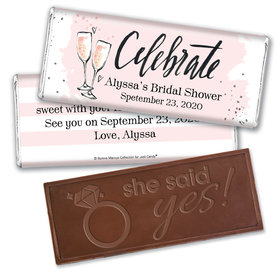 Bonnie Marcus Collection Personalized Embossed Chocolate Bar Chocolate and Wrapper The Bubbly Custom Bridal Shower