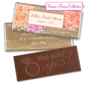 Bonnie Marcus Collection Personalized Embossed Chocolate Bar Chocolate and Wrapper Blooming Joy Bridal Shower Favor