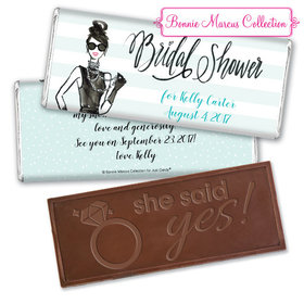 Bonnie Marcus Collection Personalized Embossed Chocolate Bar Bridal Shower Showered in Vogue Personalized