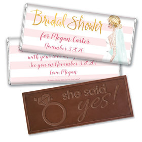 Bonnie Marcus Collection Personalized Embossed Chocolate Bar Bridal Shower Bridal March Personalized