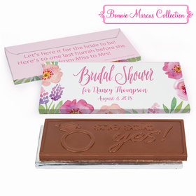 Deluxe Personalized Bridal Shower Floral Embrace Embossed Chocolate Bar in Gift Box