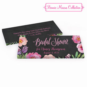 Deluxe Personalized Bridal Shower Floral Embrace Chocolate Bar in Gift Box