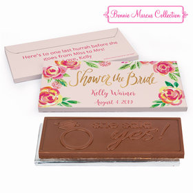 Deluxe Personalized Bridal Shower In the Pink Embossed Chocolate Bar in Gift Box