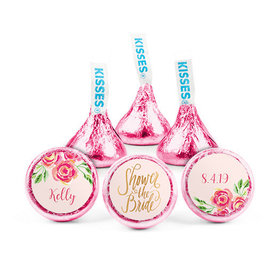 Personalized Bonnie Marcus Bridal Shower Pink Flowers Hershey's Kisses (50 pack)