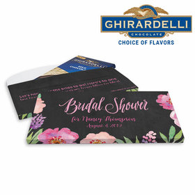 Deluxe Personalized Floral Embrace Bridal Shower Ghirardelli Chocolate Bar in Gift Box