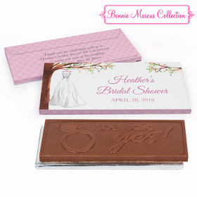Deluxe Personalized Bridal Shower Branches of Love Chocolate Bar in Gift Box