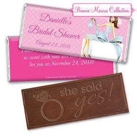 Personalized Bonnie Marcus Bridal Shower Brunette Bride Embossed Chocolate Bar & Wrapper