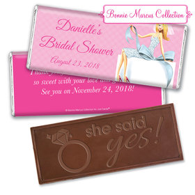 Personalized Bonnie Marcus Bridal Shower Blonde Bride Embossed Chocolate Bar & Wrapper
