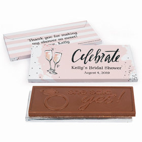 Deluxe Personalized Bridal Shower Bubbly Embossed Chocolate Bar in Gift Box