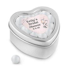 Bonnie Marcus Collection Personalized Small Heart Tin The Bubbly Custom Bridal Shower (25 Pack)