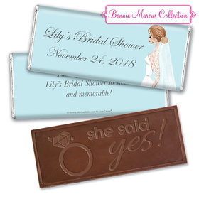 Personalized Bonnie Marcus Bridal Shower Vintage Veil Embossed Chocolate Bar & Wrapper