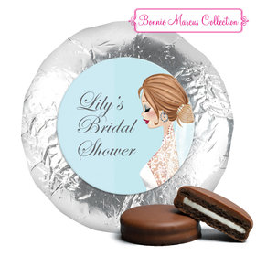 Personalized Bonnie Marcus Wedding Vintage Veil Brunette Milk Chocolate Covered Oreos (24 Pack)