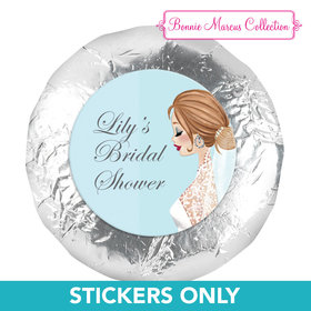 "Personalized Bonnie Marcus Wedding Vintage Veil Brunette 1.25"" Stickers (48 Stickers)"