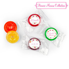 Personalized Bonnie Marcus Wedding Water Color White Blossoms LifeSavers 5 Flavor Hard Candy
