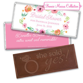 Personalized Bonnie Marcus Bridal Shower Watercolor Blossoms Embossed Chocolate Bar & Wrapper