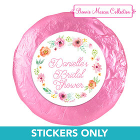 "Personalized Bonnie Marcus Wedding Water Color White Blossoms 1.25"" Stickers (48 Stickers)"