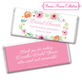 Personalized Bonnie Marcus Bridal Shower Watercolor Blossoms Chocolate Bar & Wrapper