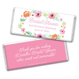 Personalized Bonnie Marcus Bridal Shower Watercolor Blossoms Chocolate Bar Wrappers Only