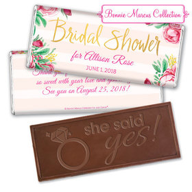 Personalized Bonnie Marcus Bridal Shower Fabulous Floral Embossed Chocolate Bar & Wrapper